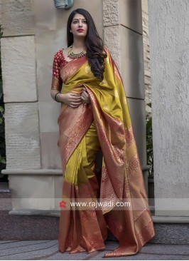 Red and Mustard Yellow Woven Saree