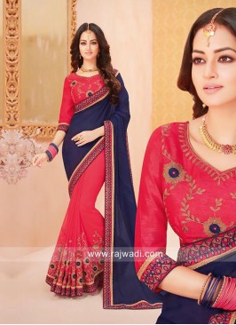 Red and Navy Blue Half Saree
