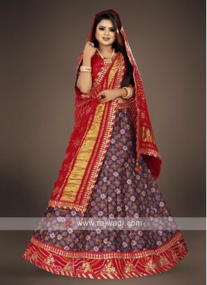 red and navy blue lehenga choli suit