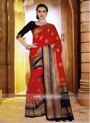Red and Navy Weaved Saree