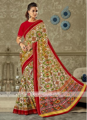 Red And Off White Patola Print Saree