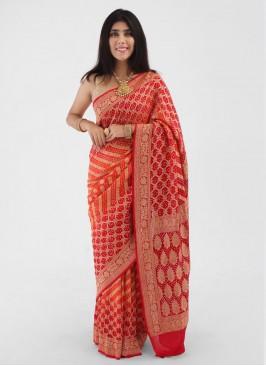 Red And Orange Chiffon Saree With Zari Weaving Work