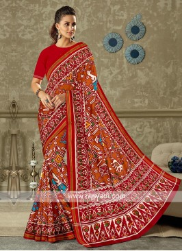 Red And Orange Colour Patola Print Saree