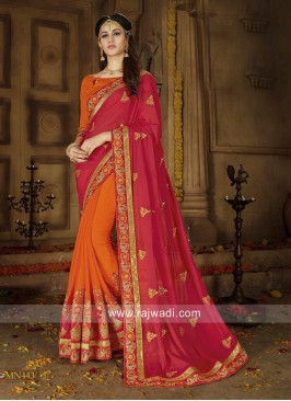 Red and Orange Half n Half Saree