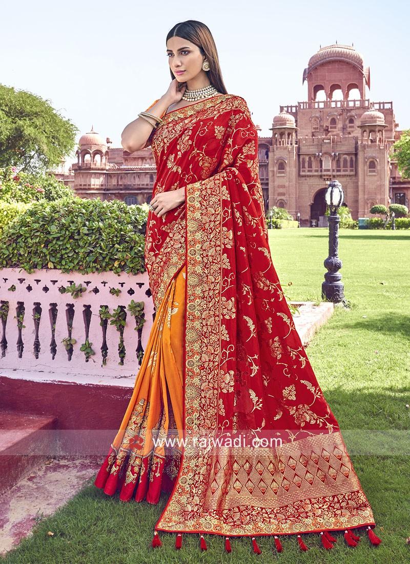 Red and Orange Half n Half Saree