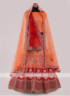 Red And Orange Lehenga Choli