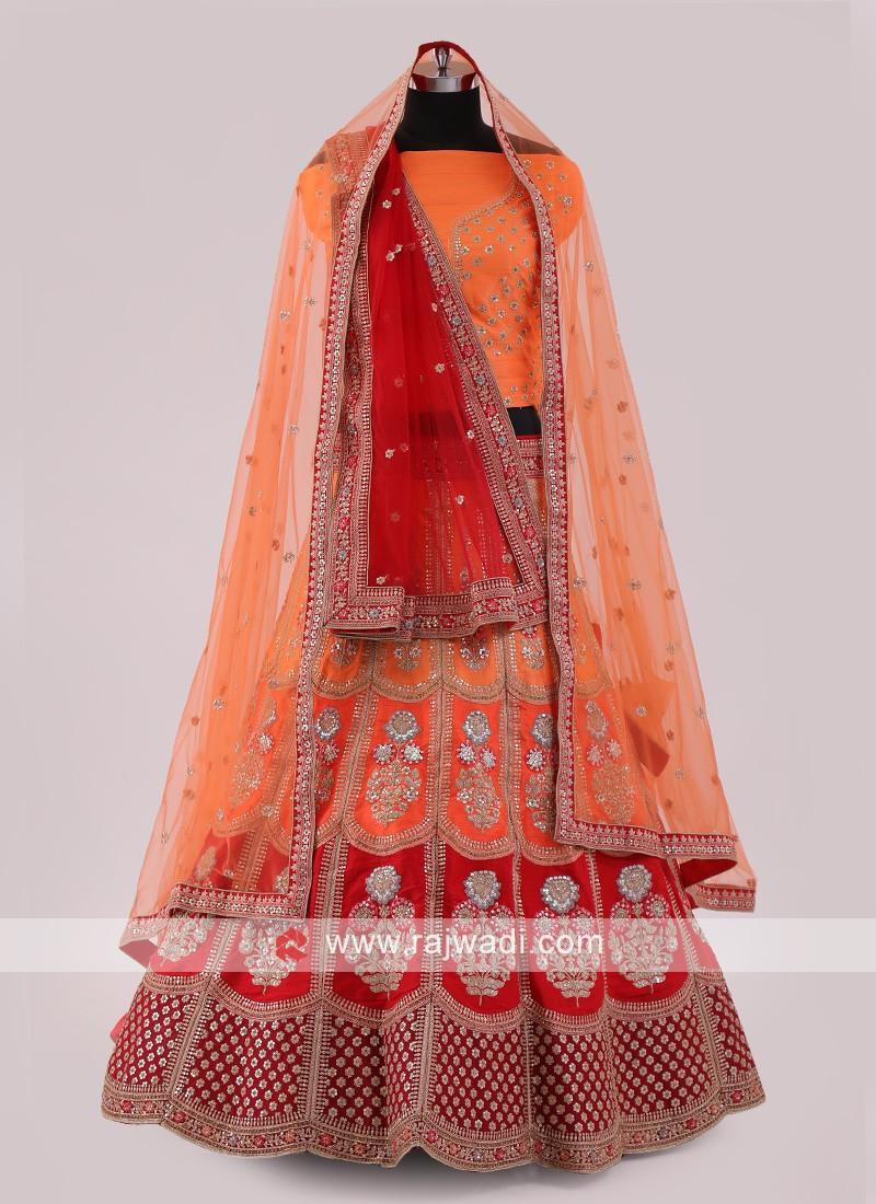 Red And Orange Lehenga Choli