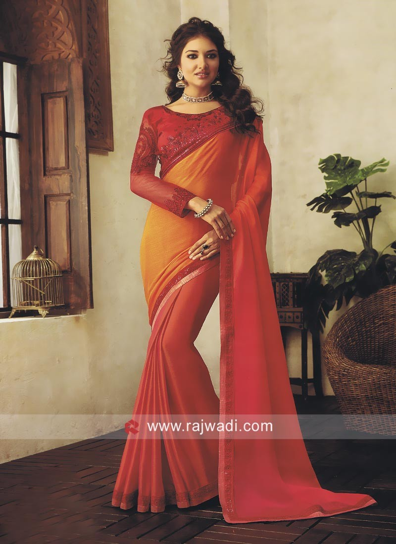 Red and Orange Shaded Chiffon Saree