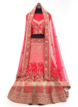 Red And Peach Lehenga Choli