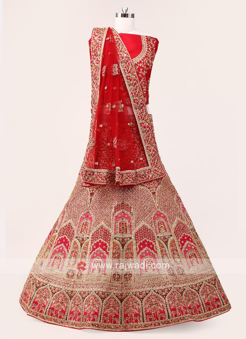 Red And Pink Lehenga Choli