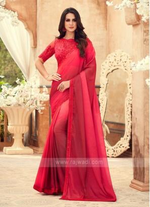 Red And Pink Shaded Chiffon Saree