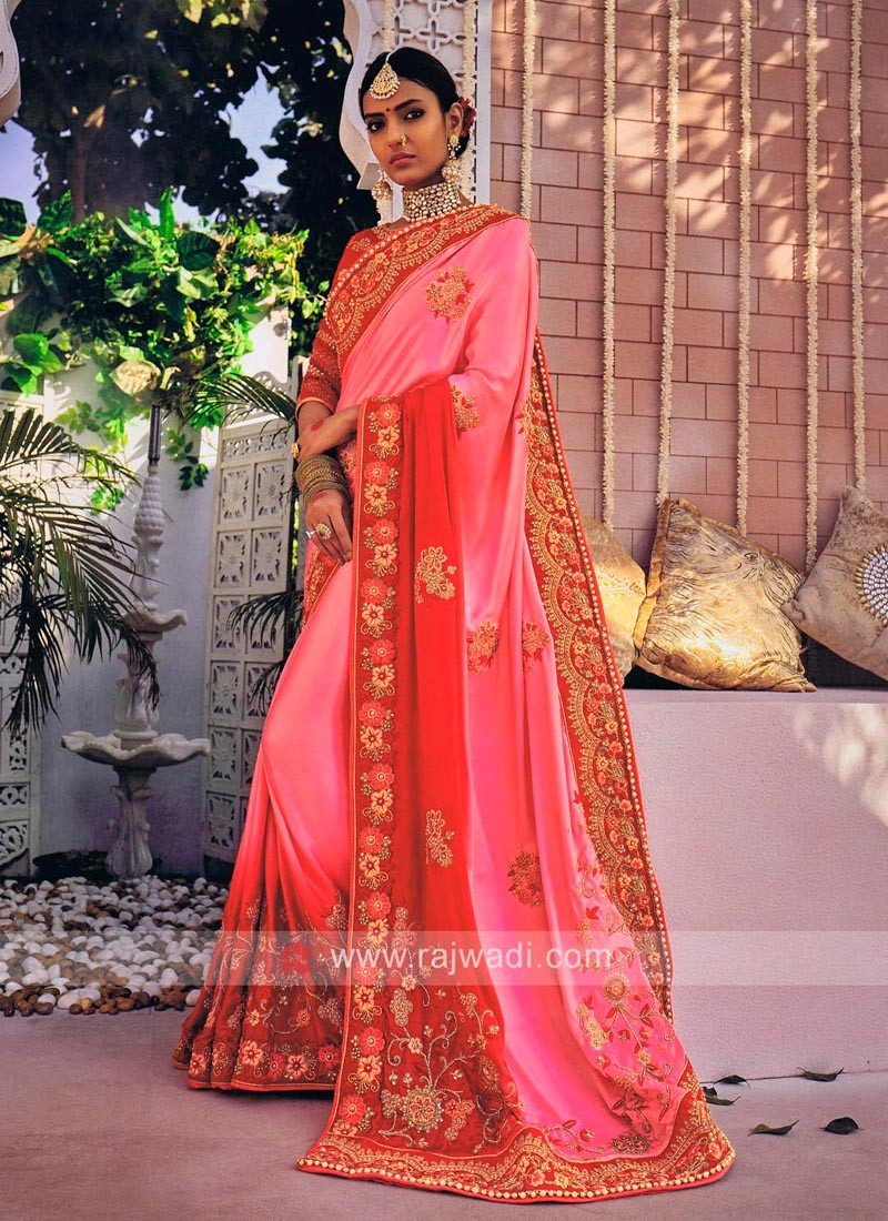 Red and Pink Shaded Saree