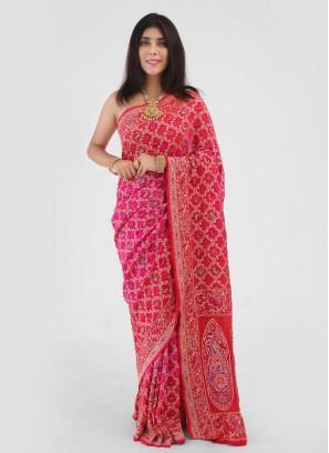 Red And Rani Shaded Chiffon Bandhani Saree