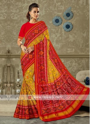 Red And Rust Colour Patola Print Saree