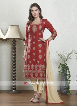 Red and skin salwar suit with dupatta