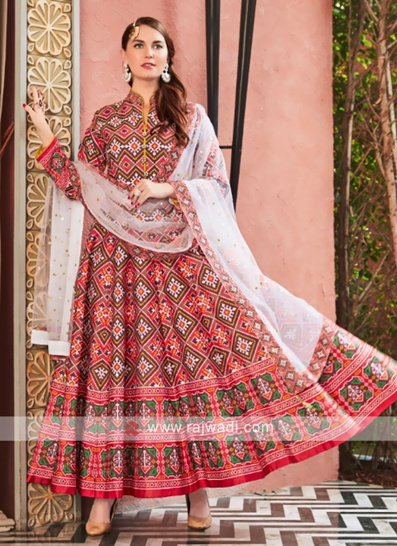 Red and White anarkali Suit With Dupatta