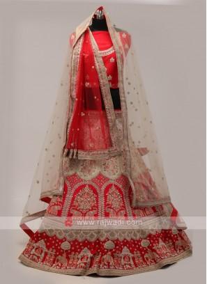 Red And White Bridal LEhenga Choli