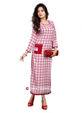 Red and White Checks Kurti