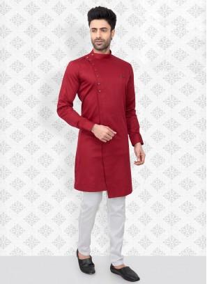 Red And White Kurta Pajama