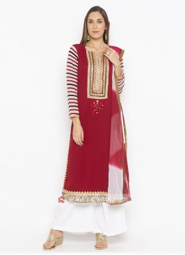 Red And White Palazzo Suit