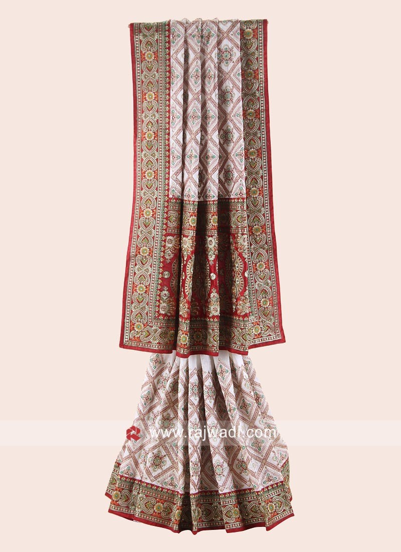 Red and White silk Bridal Gharchola