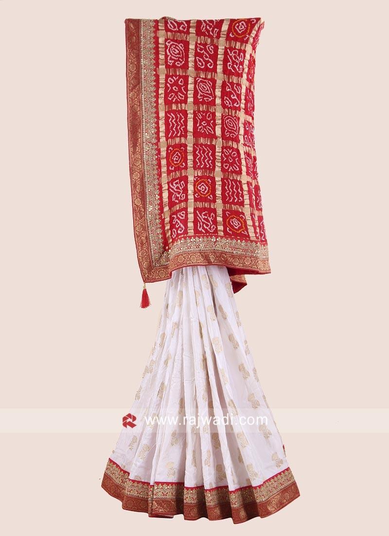 Red and White Wedding Bandhani Saree