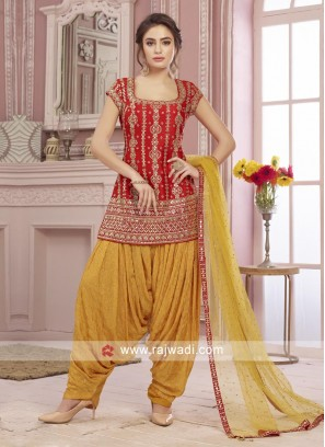Red and yellow color patiala salwar suit