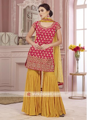 Red and yellow gharara suit