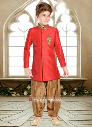 Red Art Silk Kids Indo Western