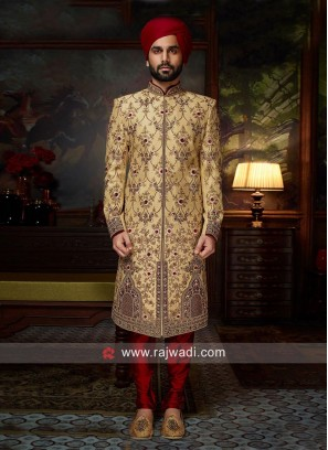 Groom Golden Color Sherwani
