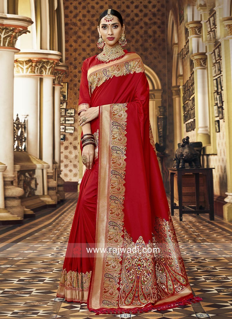 Red Art Silk Saree For Wedding