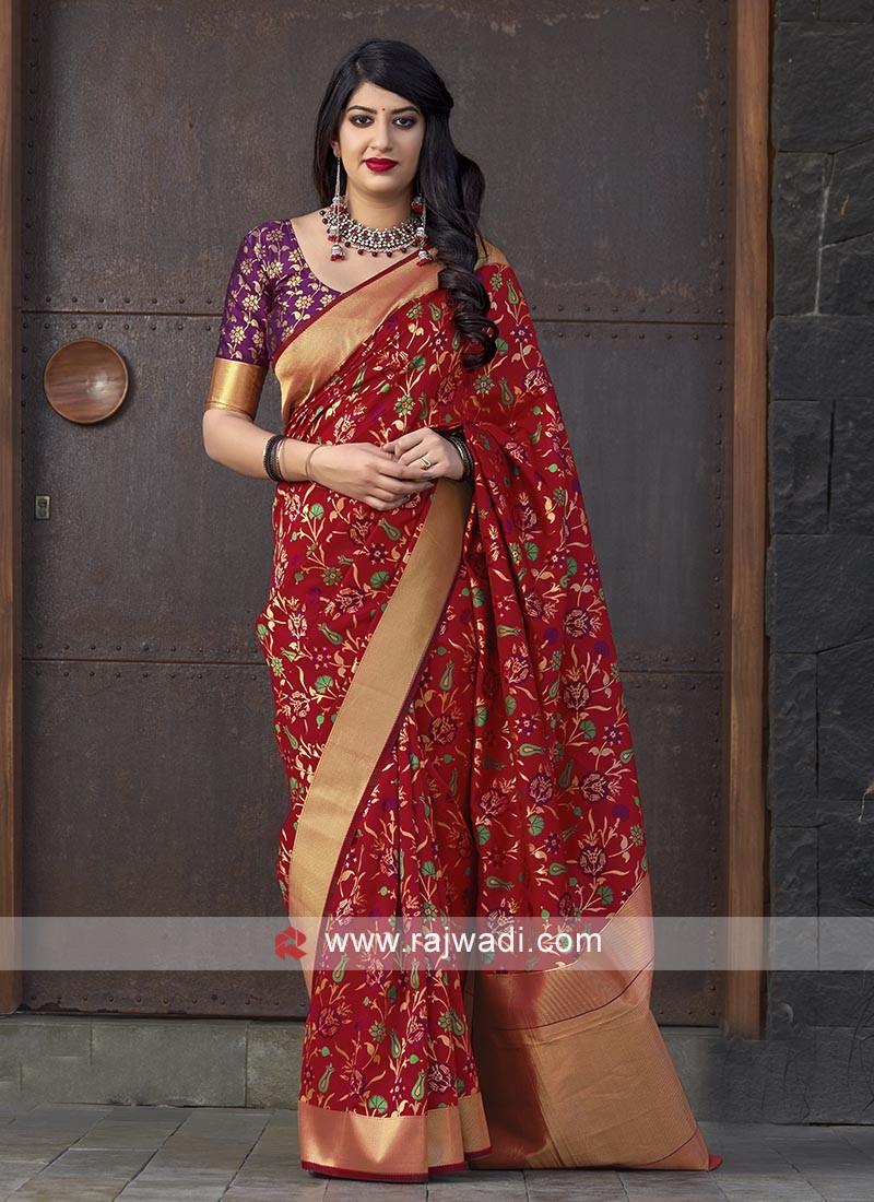 Red Banarasi Silk Saree With Contrast Blouse
