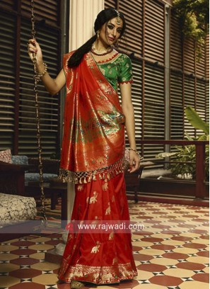 Red Banarasi Silk Saree with Green Blouse