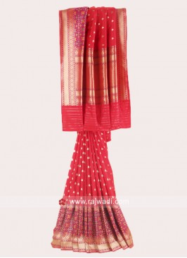 Red Banarasi Silk Weaved Saree