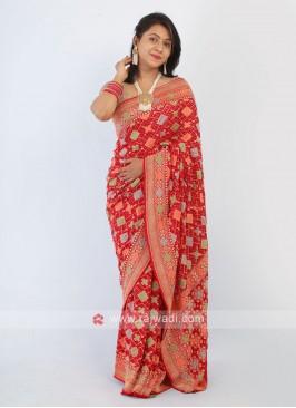 Red Bandhani Saree