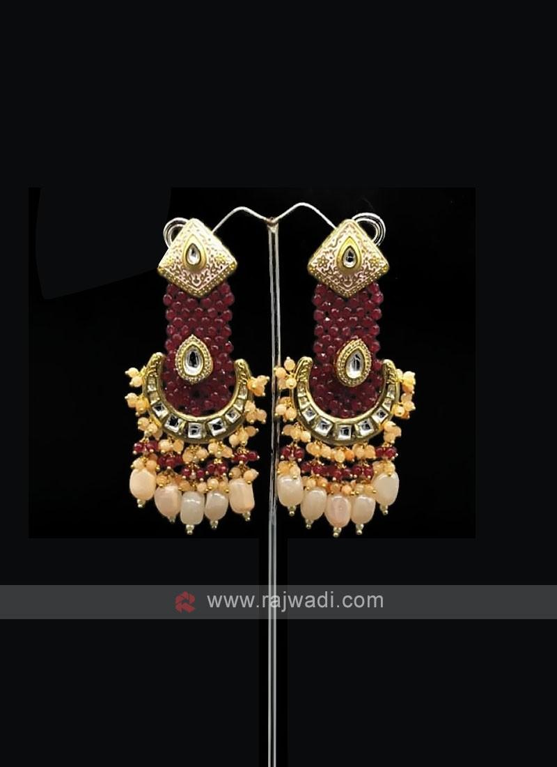 Red Beaded Long Earring
