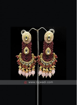 Red Beaded Long Earring