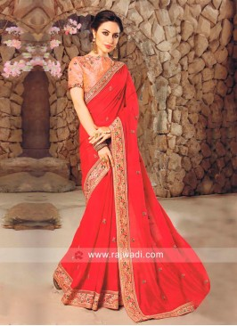 Red Border Work Saree