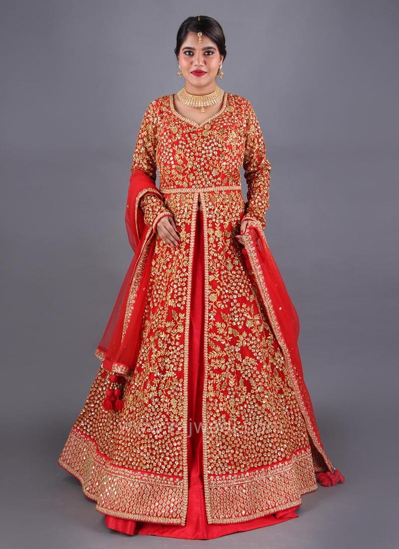 Red Bridal Embroidered Front Slit Indo Western Choli Suit