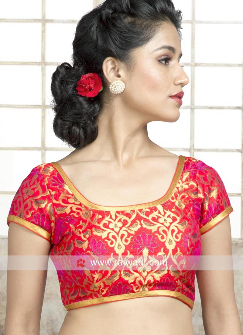Red Brocade Blouse with Lace Border