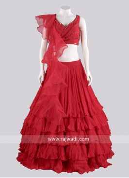 Red Chiffon Multi Layer Lehenga Choli