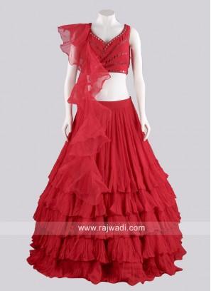 Red Chiffon Multi Layer Lehenga Choli