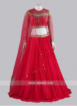 Red Chiffon Pleated Lehenga Choli