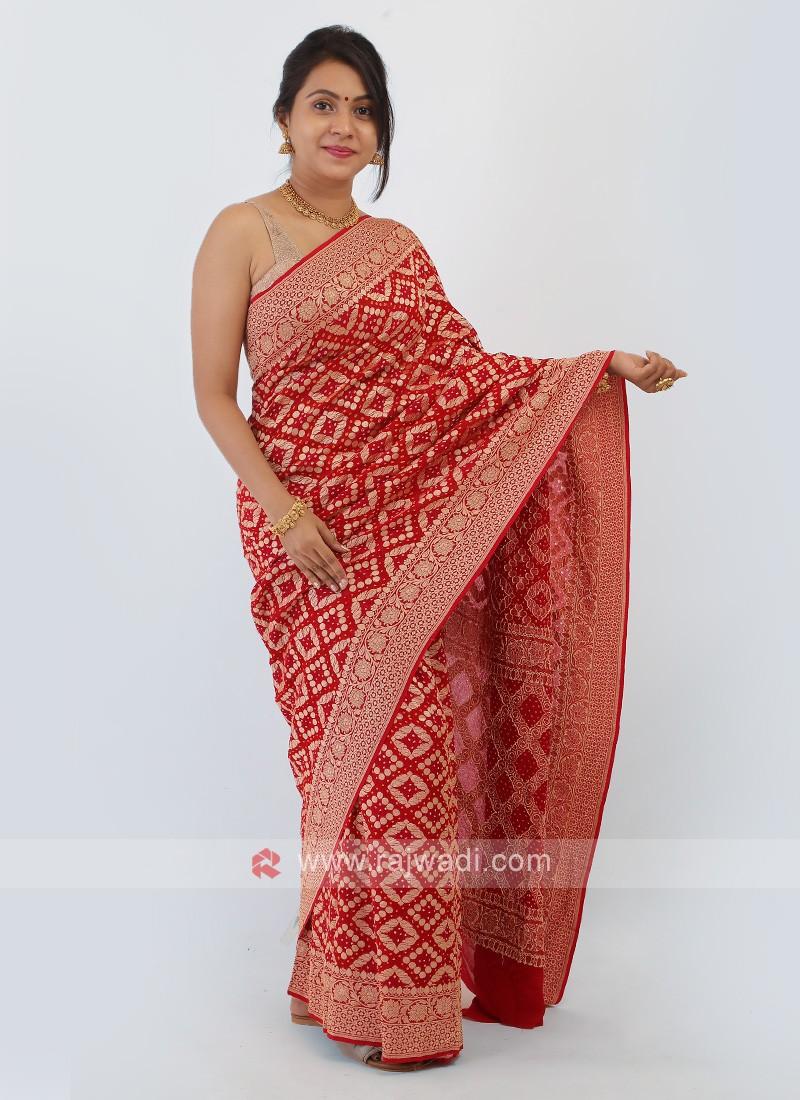 Red Bandhani Chiffon Saree