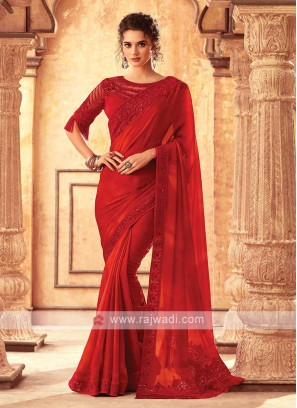 Red Chiffon Silk Saree