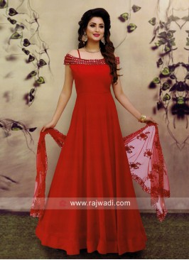 Red Cold Shoulder Anarkali Suit