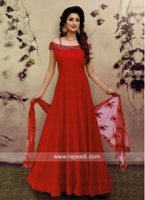 Red Cold Shoulder Anarkali Suit