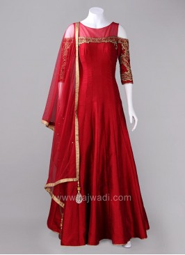 Red Cold Shoulder Flared Anarkali Dress