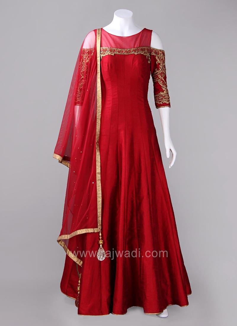 Red Cold Shoulder Flared Anarkali Dress