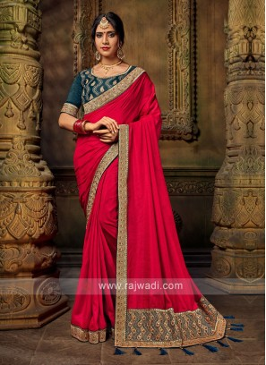 Red Color Art Silk Saree For Wedding
